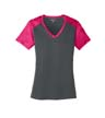 LST371 - Ladies' CamoHex Colorblock V-Neck Tee